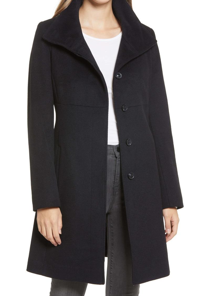 Via Spiga Stand Collar Wool Blend Coat