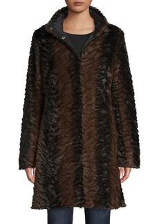 Via Spiga Textured Reversible Faux Fur Coat