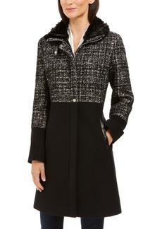 Via Spiga Tweed Faux-Fur-Collar Coat
