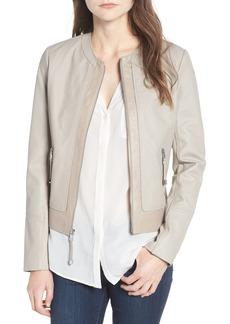 Via Spiga Two-Tone Collarless Leather & Ponte Jacket