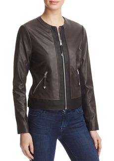 Via Spiga Two-Tone Leather Jacket