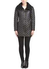 Via Spiga Via Spiga Quilted Knit-Collar Coat