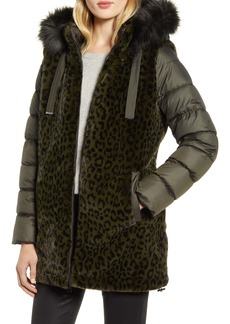 Via Spiga Water Resistant Faux Fur Puffer Coat