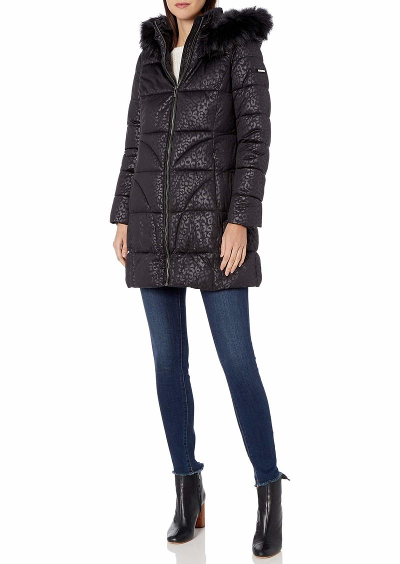 VIA SPIGA Women's 3/4 Leopard Embossed Jacket W/Faux-Fur Hood