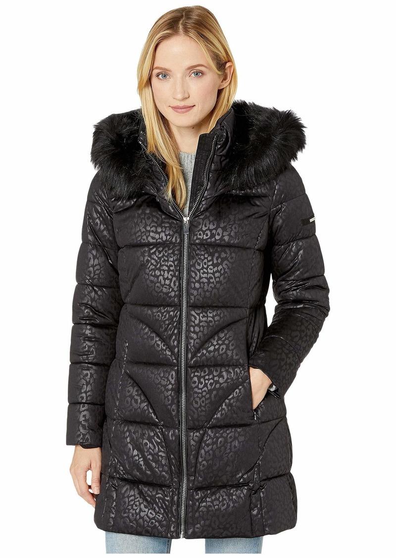 VIA SPIGA Women's 3/4 Leopard Embossed Jacket W/Faux-Fur Hood