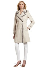 Via Spiga Women's Annabella Double-Breasted Trench with Reptile Print Trim
