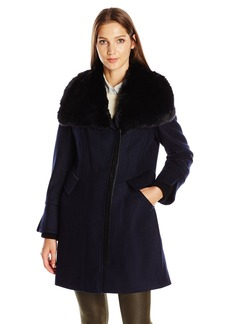 Via Spiga Women's Asymmetric Wool Coat with Faux Fur Collar