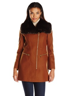 Via Spiga Women's Wool Coat with Oversized Faux Fur Collar and Asymetrical Zip Closure