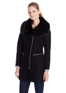 Via Spiga Women's Asymmetric Wool Coat with Oversized Faux Fur Collar