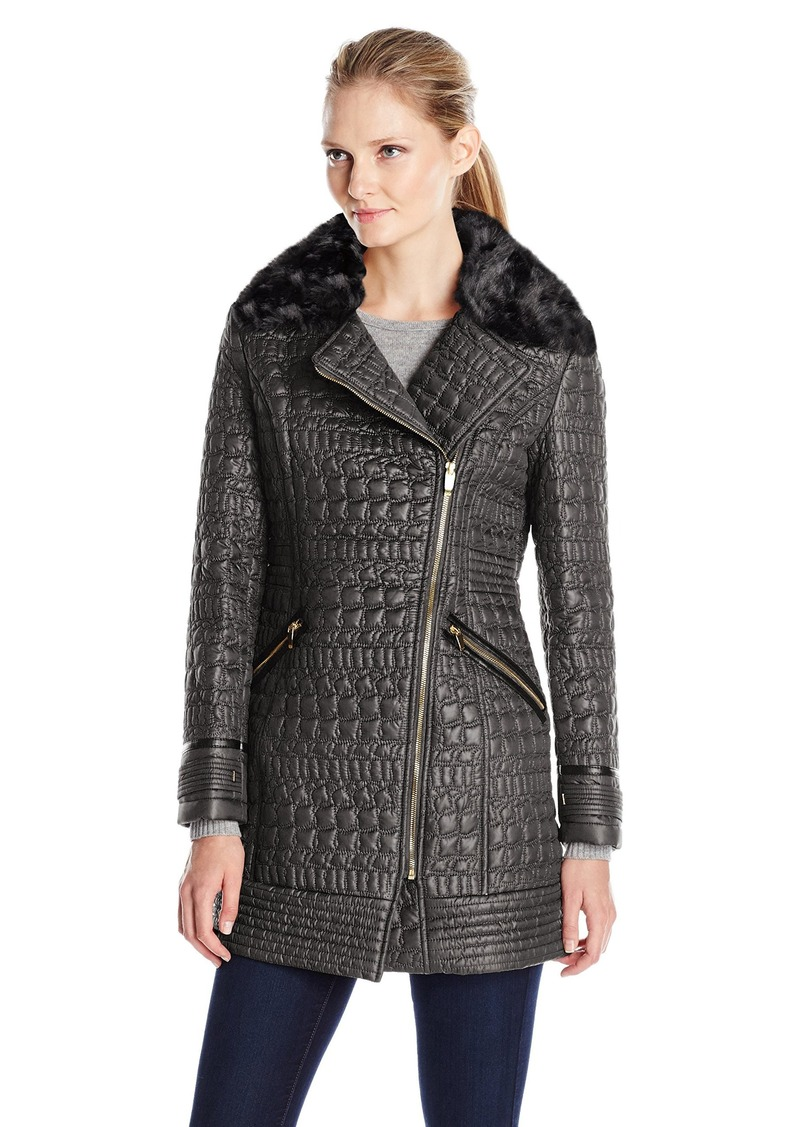 9720adc18d9 Via Spiga Women s Asymmetric Zip Front Quilted Jacket with Removable Faux  Fur