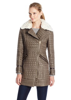 Via Spiga Women's Asymmetric Zip Front Quilted Jacket with Removable Faux Fur  Medium