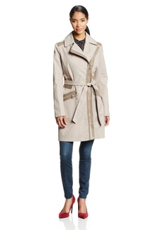 Via Spiga Women's Asymmetrical Zip Belted Trench Coat with Faux eather Trim  arge