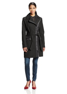 Via Spiga Women's Asymmetrical Zip Belted Trench Coat with Faux Leather Trim