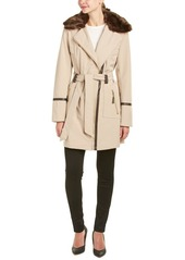 VIA SPIGA Women's Asymmetrical Zip Front Soft Shell Coat with Removable Faux Fur