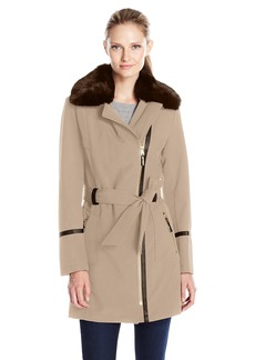 Via Spiga Women's Asymmetrical Zip Front Soft Shell Coat with Removable Faux Fur  X-Small