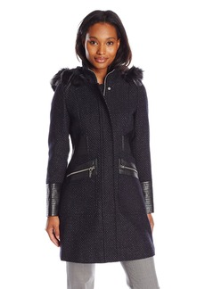 Via Spiga Women's Basket Weave Wool Coat with Faux Fur Trim Hood