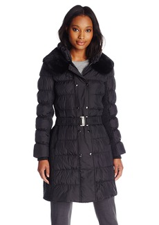 Via Spiga Women's Belted Down Coat with Slimming Side Details  arge