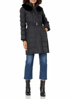 VIA SPIGA Women's Belted Down Coat with Slimming Side Details