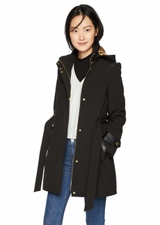 Via Spiga Women's Belted Soft Shell Hooded Jacket with Faux Leopard Lining
