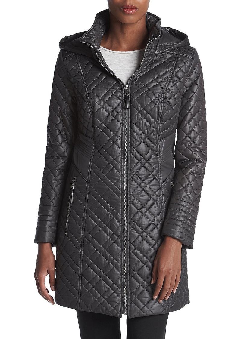 VIA SPIGA Women's Center Zip Diamond Quilt Coat with Hood