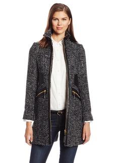 Via Spiga Women's Chevron Tweed Wool Coat