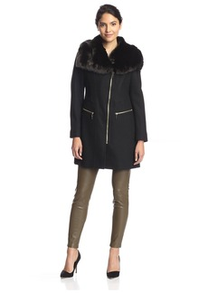 Via Spiga Women's Coat with Faux Fur Collar   US