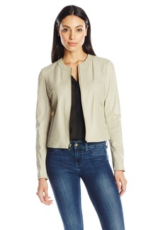 Via Spiga Women's Collarless Leather Jacket  Large