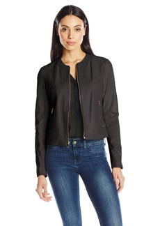 Via Spiga Women's Collarless Leather Jacket  X-Large