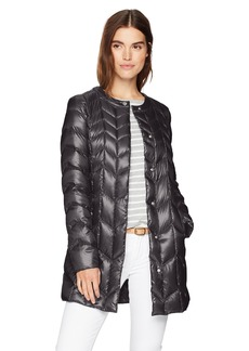 Via Spiga Women's Collarless Packable Down Jacket With Chevron Stich Detail  S
