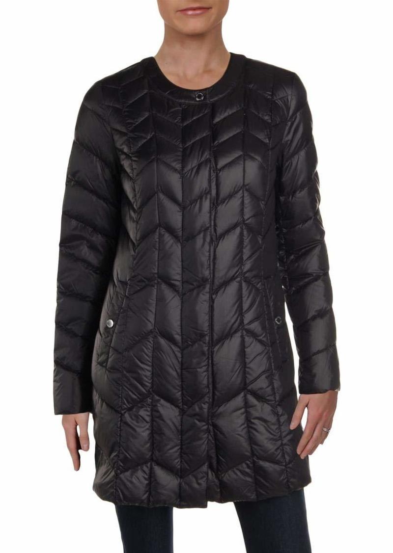 Via Spiga Women's Collarless Packable Down Jacket with Chevron Stitch Detail