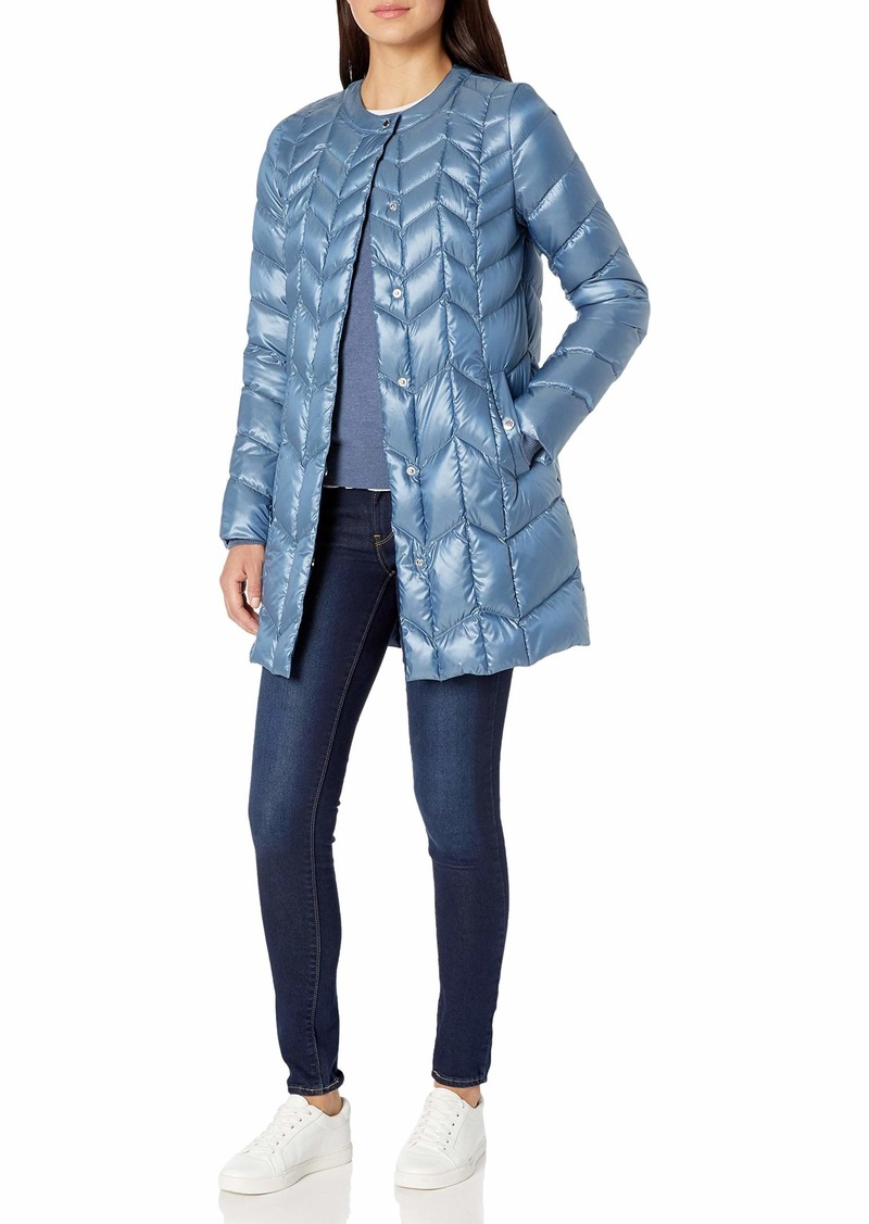 VIA SPIGA Women's Collarless Packable Down Jacket with Chevron Stitch Detail