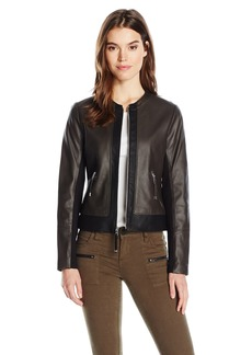 Via Spiga Women's Collarless Two Tone Front Zip Leather Jacket  L