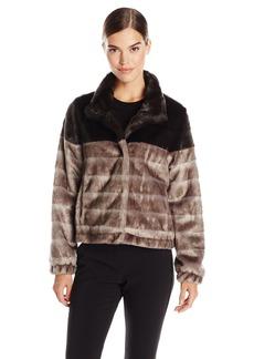 Via Spiga Women's Color Block Faux Fur Jacket  Medium