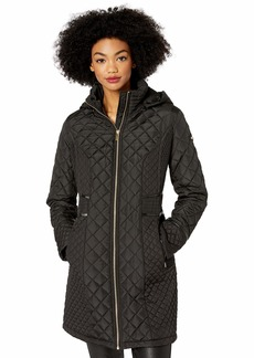 Via Spiga Women's Diamond Quilted Coat W/Detachable Hood