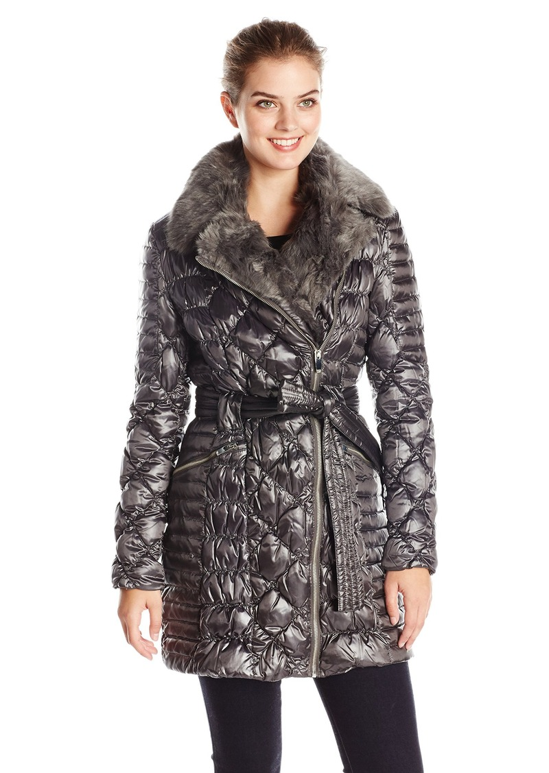 0eb7f83fb Women's Diamond Quilted Down Coat with Asymmetrical Zip and Faux Fur