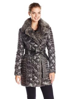 Via Spiga Women's Diamond Quilted Down Coat with Asymmetrical Zip and Faux Fur  edium