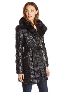 Via Spiga Women's Diamond Quilted Down Coat with Asymmetrical Zip and Faux Fur  Medium