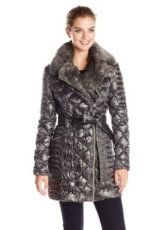 Via Spiga Women's Diamond Quilted Down Coat with Asymmetrical Zip and Faux Fur  X-Small
