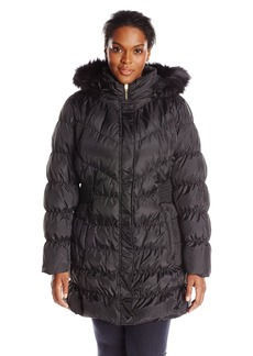 Via Spiga Women's Diamond Quilted Down Coat with Faux Fur Collar