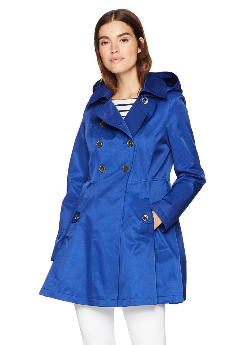 Via Spiga Women's Double Breasted Hooded Fit and Flare Lightweight Trench Coat