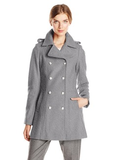 Via Spiga Women's Double Breasted Military Wool Coat with Silver Buttons