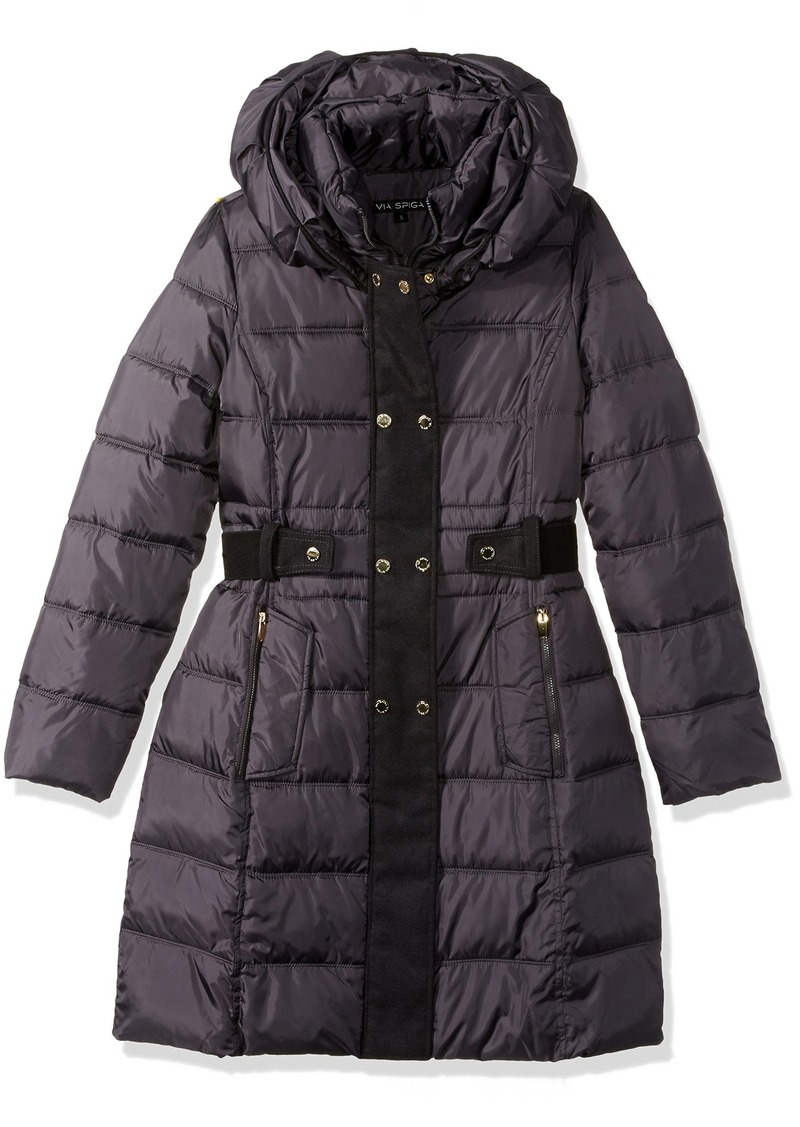 VIA SPIGA Women's Double Breasted Puffer Coat with Faux Fur Placket