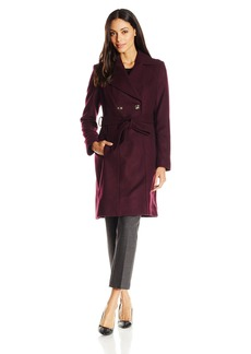 Via Spiga Women's Double Breasted Wool Coat with Belt
