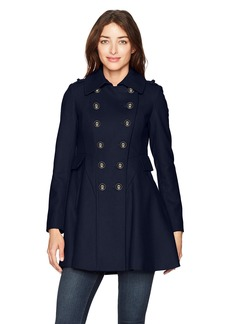 Via Spiga Women's Double Breasted Wool Fit and Flare Skating Coat