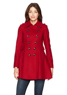Via Spiga Women's Double Breasted Wool Fit and Flare Skating Coat via Red