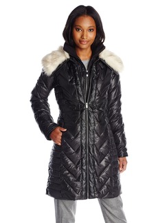 Via Spiga Women's Down Coat with Faux Fur Collar