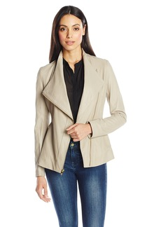 Via Spiga Women's Drape Front Leather Jacket