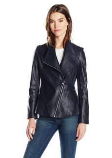 Via Spiga Women's Drape Front Leather Jacket  S