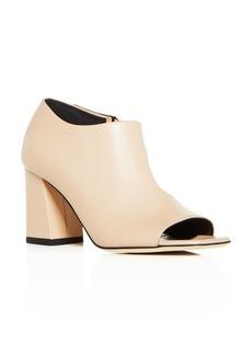 Via Spiga Women's Eladine Leather Open Toe Block-Heel Booties