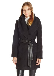 Via Spiga Women's Mid-Length Textured Wool Coat With Oversized Hood and Faux Leather Belt